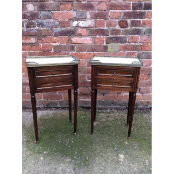 Pair of Louis XVI Style Marble Top End Tables