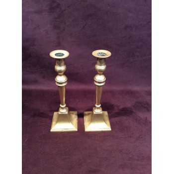 A Pair of Brass Georgian Candle Sticks