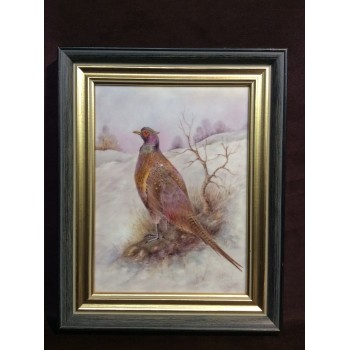 A Framed Hand Painted Porcelain Plaque by Gerald Delaney